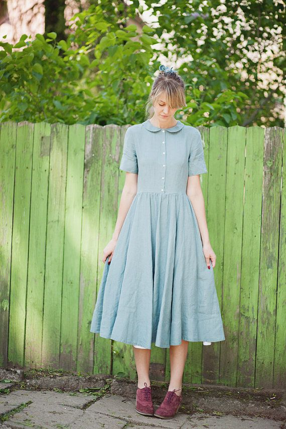 Turquoise blue linen dress with collar is made of 100 % high quality linen.