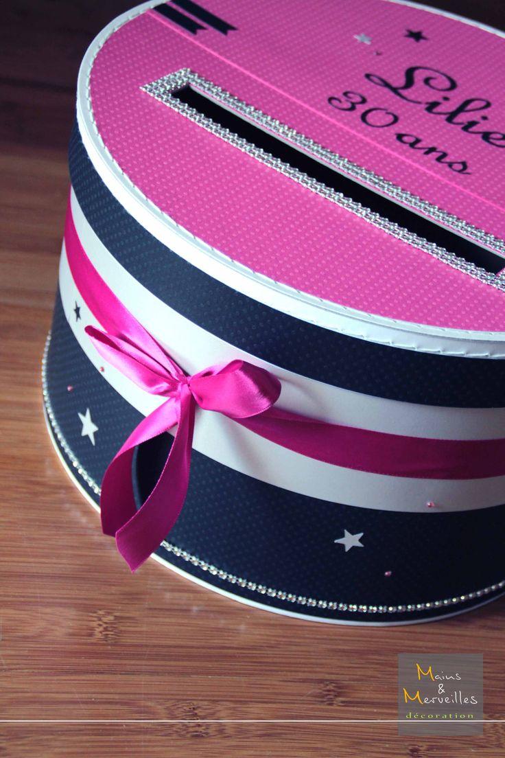 Tirelire anniversaire très Girly thème New York - Noir, Fushia & argenté avec strass, étoiles et ruban http://www.mainsetmerveillesdeco.fr/