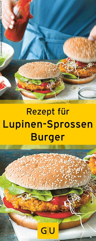 """Leckeres Rezept für Lupinen-Sprossen-Burger. Ihr findet es in der Leseprobe zum Buch """"Lupine""""."""