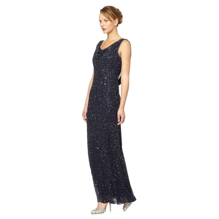 Debut Navy embroidered cowl-front maxi dress- at Debenhams ...