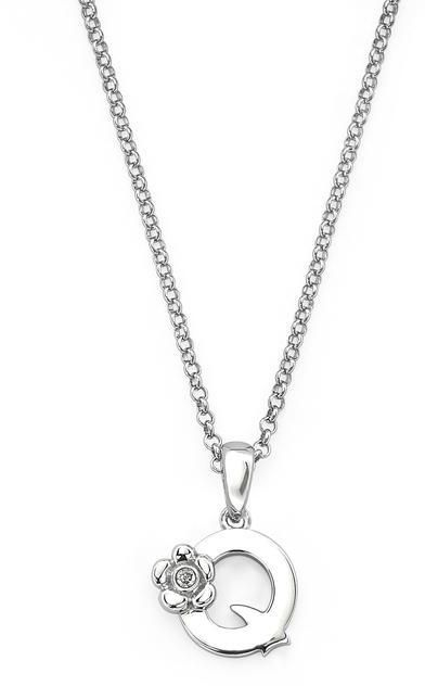 "Little Diva Diamonds Little Diva Silver Initial ""Q"" Necklace with Diamond Accents for Children"