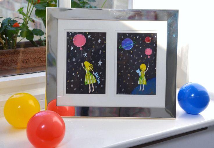 Shop Now: Girl in Space Illustration Picture, Unique Gift For Girl, Papercutting Art, Kids Home Decor, Playroom Art, ...  https://www.etsy.com/listing/478357927/girl-in-space-illustration-picture?utm_campaign=crowdfire&utm_content=crowdfire&utm_medium=social&utm_source=pinterest