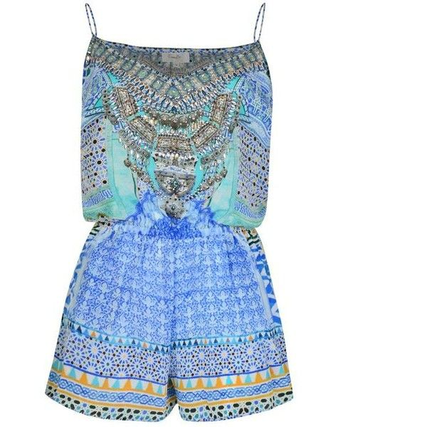 Camilla Gaudi Playsuit (525 NZD) ❤ liked on Polyvore featuring jumpsuits, rompers, blue, playsuit romper, blue rompers, silk romper and blue romper