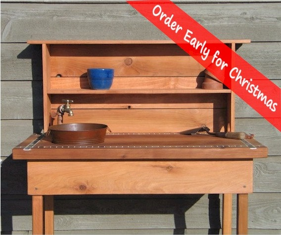 Potting Bench  Faucet  Sink & Shelf by BluejaysWorkshop on Etsy, $299.00