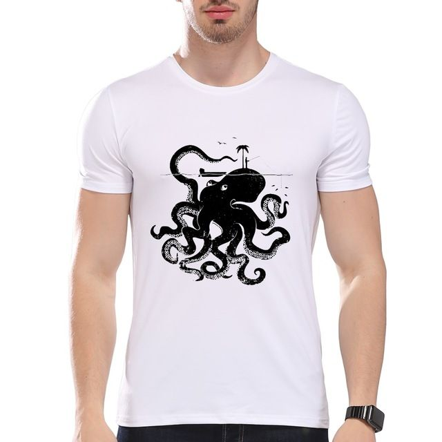 TEEHEART Men's Retro Huge Octopus Monster Printed  Summer T-Shirt Short Sleeve O-Neck Modal Hipster Tees la335