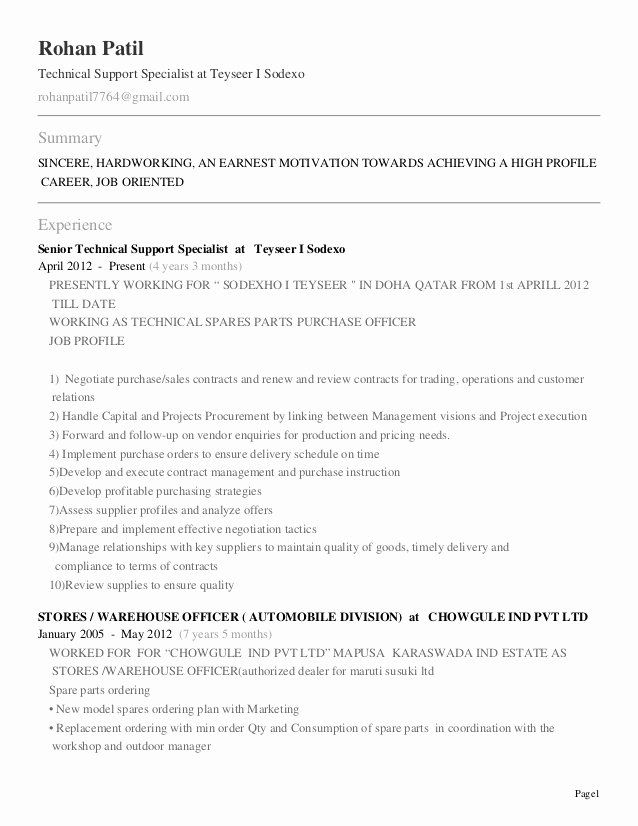 Customer Support Specialist Resume New Resume Rohan Patil