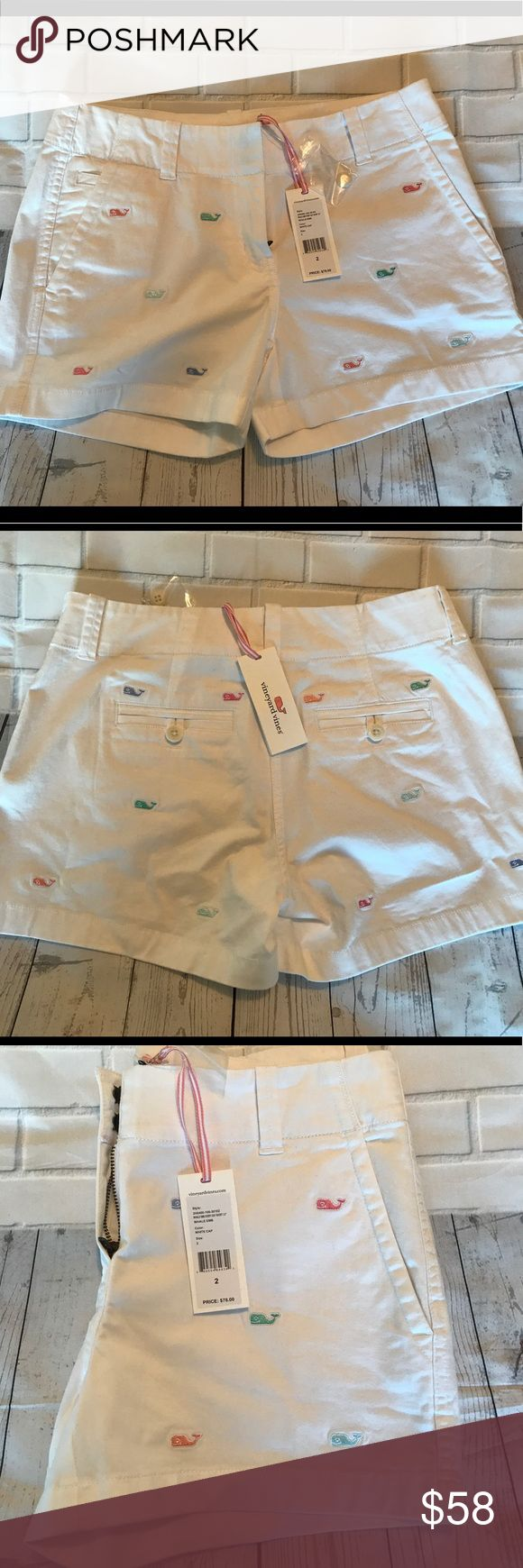 NWT WOMEN'S VINEYARD VINES WHALE LOGO CHINO SHORTS 🐳 NWT WOMEN'S VINEYARD VINES WHALE EMBLEM PRINT🐳 Size: 2. Color: White. Original Price $78.00 Vineyard Vines Shorts Bermudas