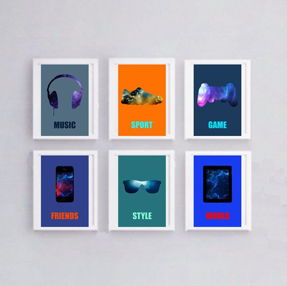 Set of 6 posters in colors trends for deco, with current objects and colorful print 6 prints trend posters for teenager, printed on photo 210 gr paper, high quality. Format 20 x 30 cm or 7.9 x 11.8 The illustrations are intended to be framed. They are supplied without frames. Possible