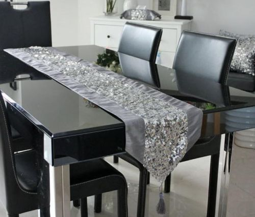 Table Runners Table Cloth Luxurious Bilayer Sequins Embroidery Decorative Tassel
