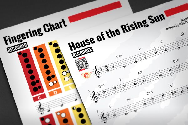 Recorder sheet music house of the rising sun w fingering for House music 1990 charts