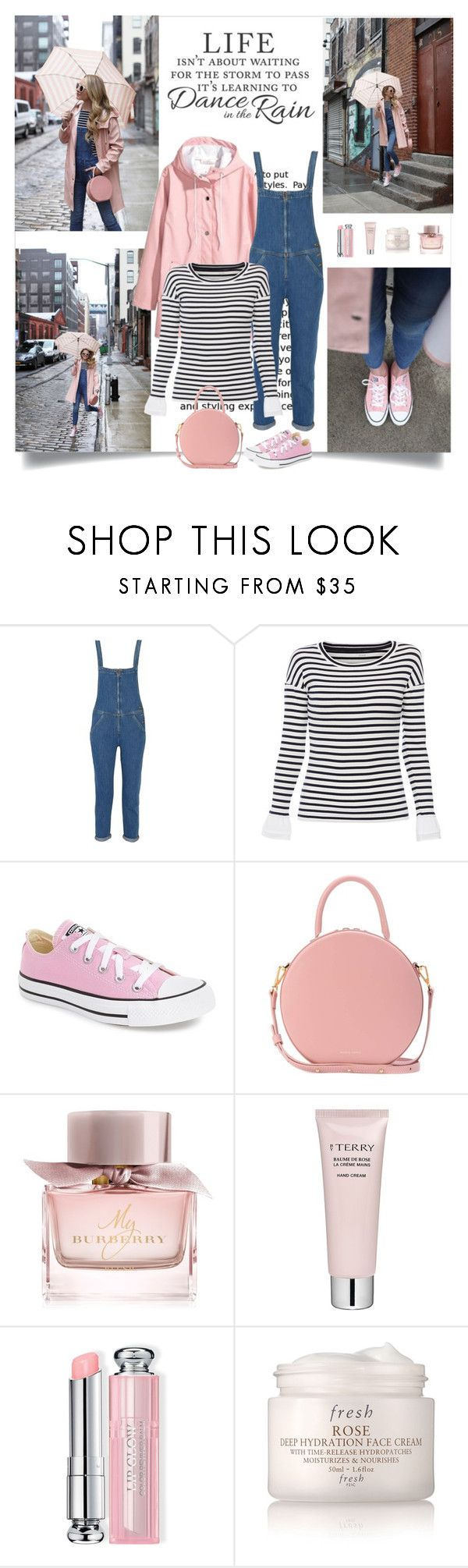 """""""Dancing in the rain"""" by danniss ❤ liked on Polyvore featuring H&M, M.i.h Jeans, Marc Cain Sports, Converse, Mansur Gavriel, Burberry, By Terry, Christian Dior and Fresh"""