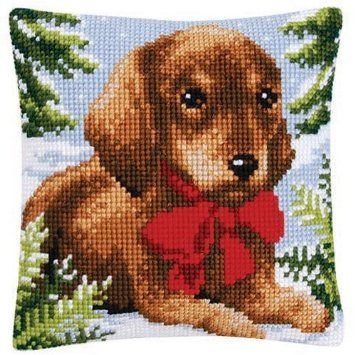 Vervaco Christmas Puppy Pillow Cover Needlepoint Kit