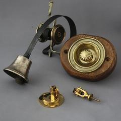 Antique Front Door Bell Pull & Bell - working mid Victorian front door bell pull and original bell.
