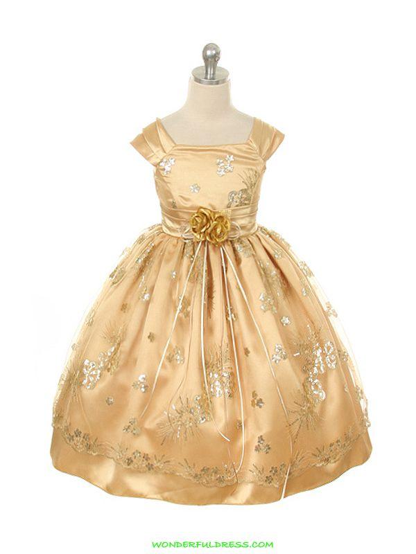 Gold Dresses For Girls | Flower Girl Dresses, Communion Dresses, Pageant Dresses - Gold Satin ...