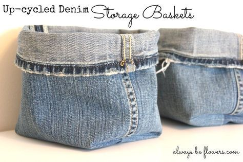 """I upcycled old jeans legs into baskets. This was super easy. I got the general idea from Buttons and Paint. Just cut off a pant leg and sew 3 seams. I did learn that if they are taller than 10 inches, they do not stand up well. Also the size of the corner should be 2"""" from the point. For now I am using the basket as a type of baby speed bump. My daughter is now on the move, but she also really likes unpacking bags. By strategically placing baskets of fun stuff around the house..."""