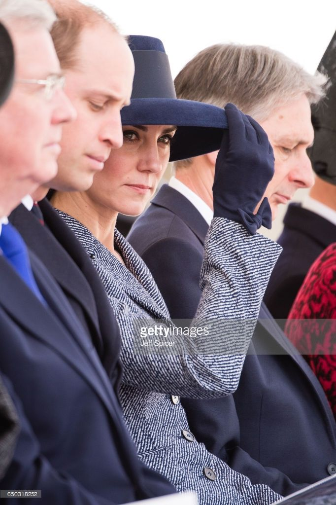Prince William, Duke of Cambridge, Catherine, Duchess of Cambridge and Philip Hammond during the dedication service of The Iraq and Afghanistan memorial at Horse Guards Parade on March 9, 2017 in London, England.