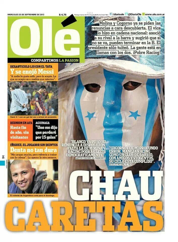 #PrimeraPlana @Diario Ole de hoy miércoles 25/09/13