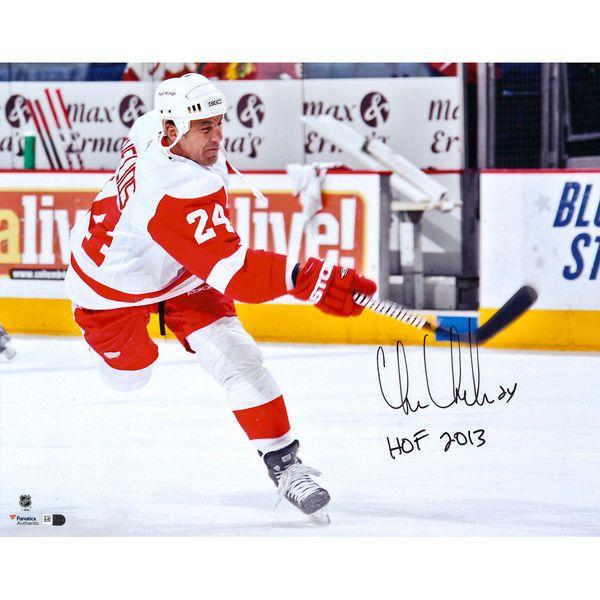 "Chris Chelios Detroit Red Wings Fanatics Authentic Autographed 16"" x 20"" White Jersey Shooting Photograph with HOF 2013 Inscription - $99.99"