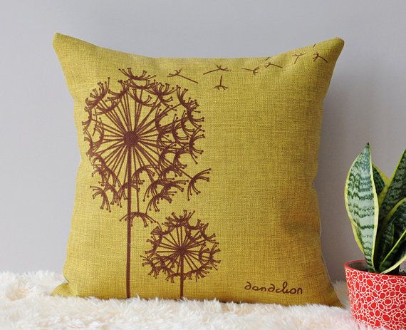 Throw Away Pillow Cases : Linen Dandelion Cushion Case, Throw Away Pillow Case, Countryside Style Cushion Cover without ...