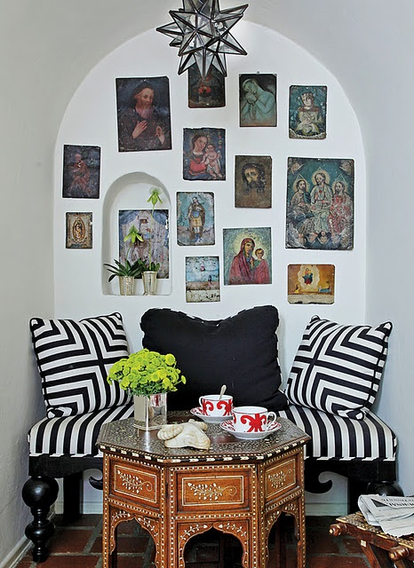 striped nook with moroccan table and light