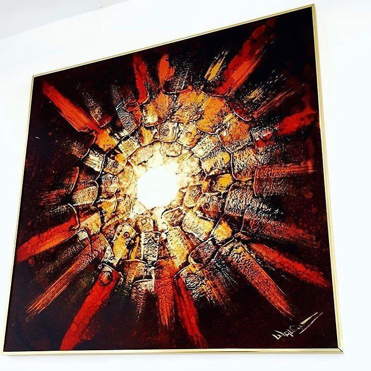 """Sunburst - oil/gesso on canvas. 1970's. Large painting by Franck Walcutt. Brass Frame. 36"""" x 36"""". Signed. For $ale. $400.00. Free Local Delivery/Pickup. FREE SHIPPING. Purchase is easy. Simply DM me with email address and shipping address. I send invoice. You Pay Invoice. I pack and arrange for shipping/pickup/delivery."""