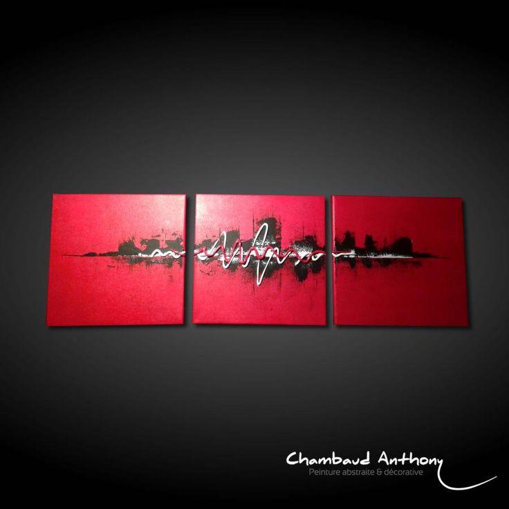 Tableau rouge abstrait - Punane 2, tableau skyline manhattan abstrait