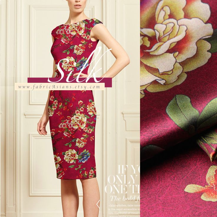 Charmeuse de soie motif pivoine fond Bordeaux : Tissus Habillement, Déco par fabricasians