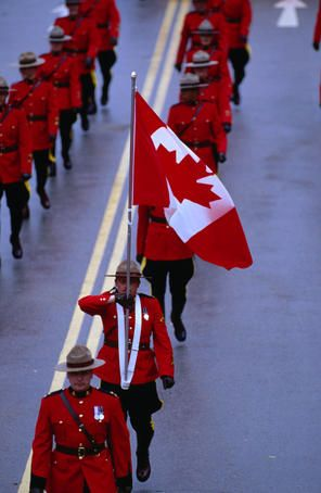 Royal Canadian Mounted Police Force on parade.