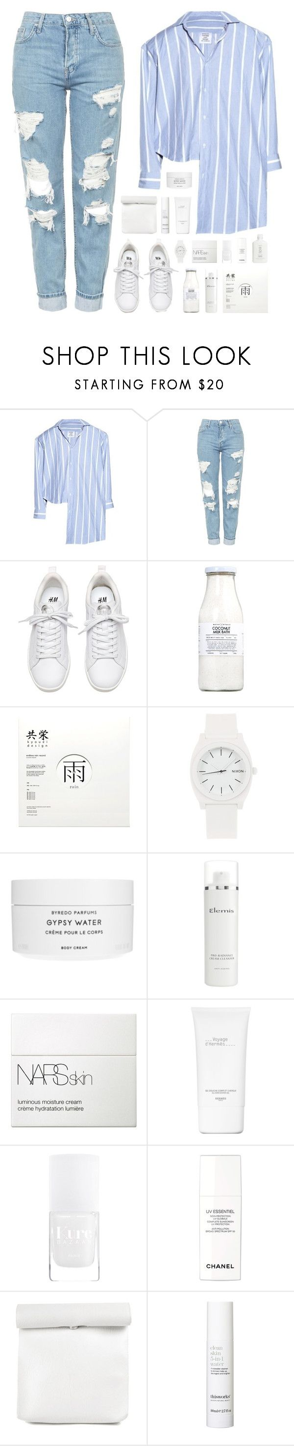 """""""treasure"""" by martosaur ❤ liked on Polyvore featuring Vetements, Topshop, Rituals, Nixon, Byredo, Elemis, NARS Cosmetics, Hermès, Chanel and This Works"""