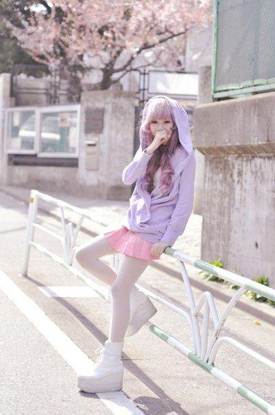 purple sweater and pink skirt, japanese fashion street.