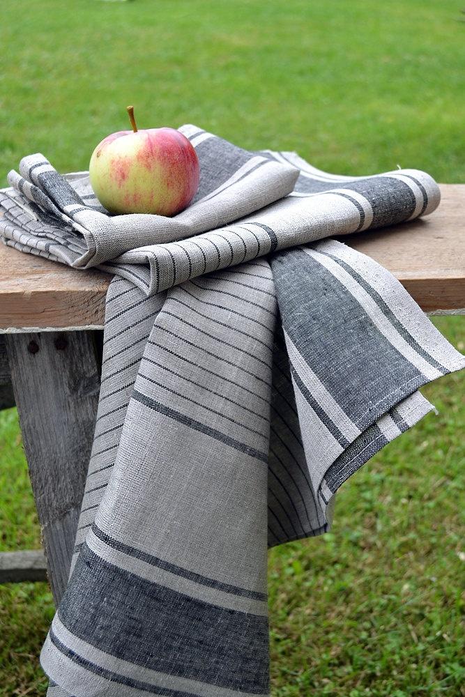 SALE 10 2 Linen Towel Gray Linen With Black by LinenLifeIdeas