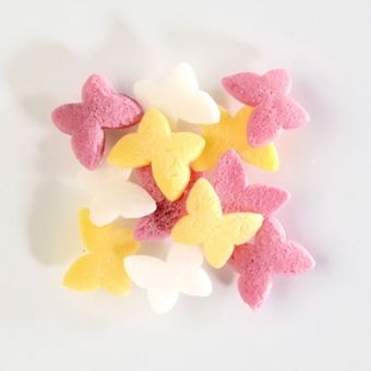 YELLOW, WHITE AND PINK SUGAR BUTTERFLIES (BAKE A CAKE), 60G