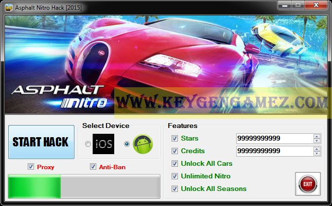Are you looking for Asphalt Nitro Hack? If the answer is YES, you've got in the right place. After you will read the whole article, you'll find out how to Unlock All Cars and All Seasons; how to get Unlimited Nitro, and last but not least, how to add as many Stars and Credits you want with Asphalt Nitro Hack Tool to upgrade your account in this video game.