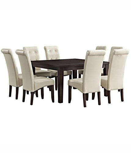 Simpli Home 9 Piece Cosmopolitan Dining Set Satin Cream