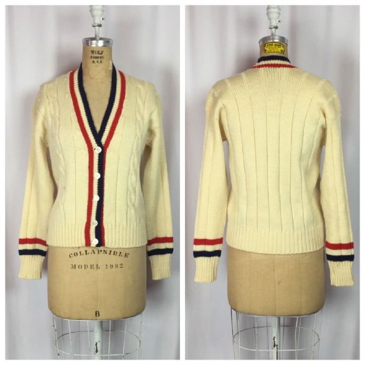 Vintage 1960's Abercrombie And Fitch MOD Letterman Tennis Cardigan Sweater. S/M #AbercrombieFitch #VneckCardigan