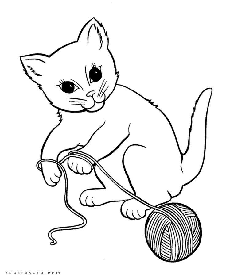 Раскраска кошка с клубком ниток | Раскраски, Кошки и ...