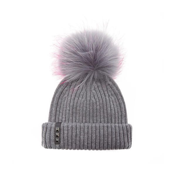 BKLYN Women's Merino Wool Hat with Grey/Pink Pom Pom - Mid Grey ($65) ❤ liked on Polyvore featuring accessories, hats, bobble hat, gray hat, merino wool hat, gray beanie and pink hats