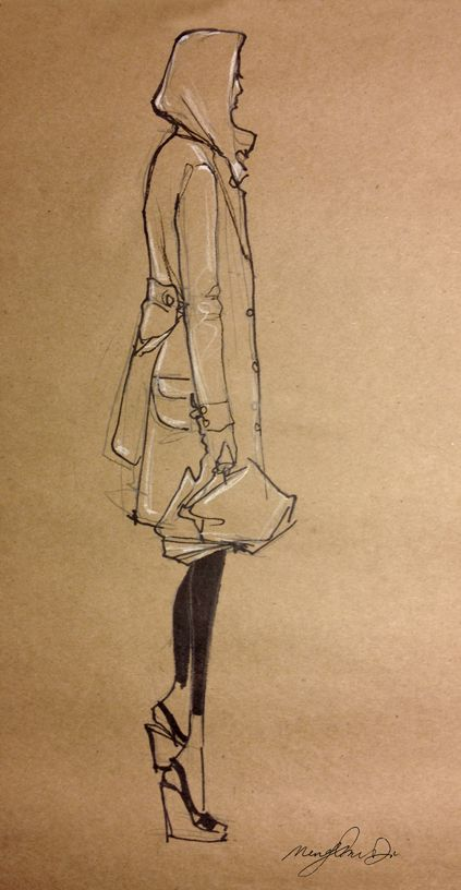 Fashion Sketch - hooded jacket, fashion drawing on brown paper; fashion illustration // Mengjie Di