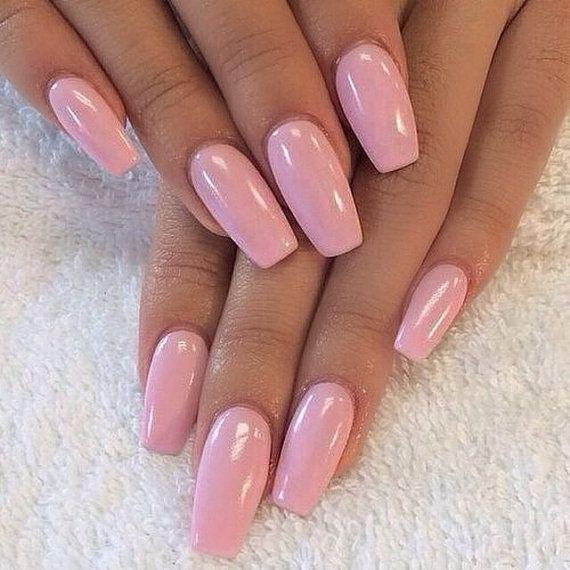 Coffin shape nails pink nails false nails by CrystalNailBoutique