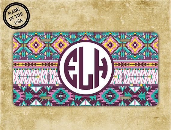 tribal license plate or frame monogram aztec car tag purples light blue personalised car tag bike license plate car accessories 1002
