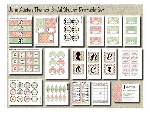Jane Austen themed set for a bridal shower...but wouldn't it be great to just throw a Jane inspired party anytime? Jane Austen shower. Jane Austen party. <3