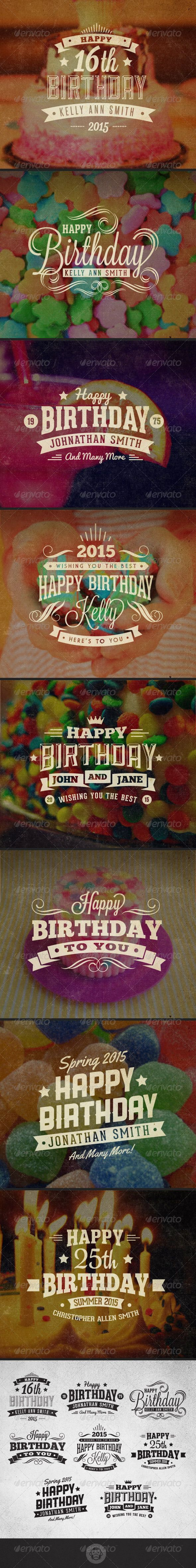 Vintage Labels and Badges - Happy Birthday - Badges & Stickers Web Elements