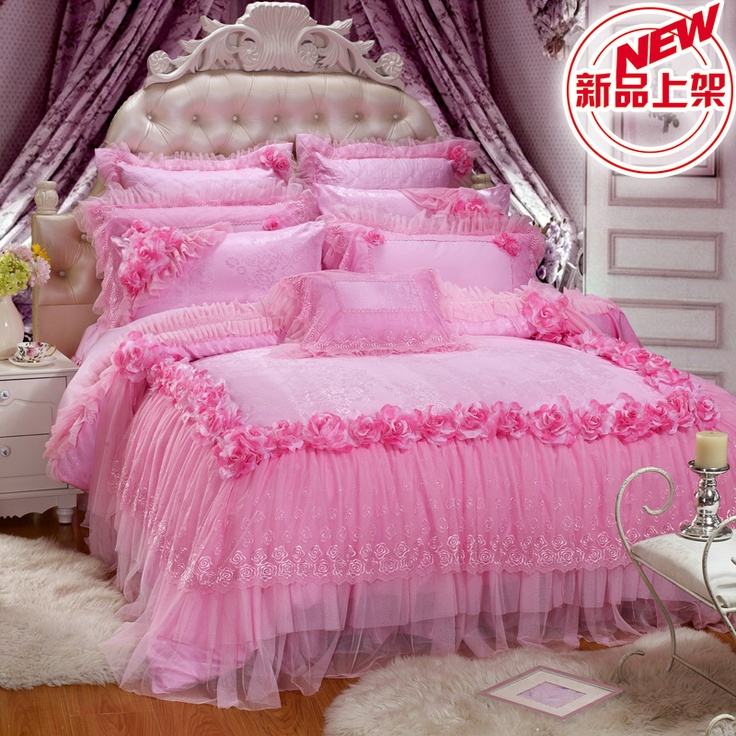 Aliexpress.com : Buy New Quality Satin Romantic Lace Ruffle Bedding Sets,luxury  Jacquard