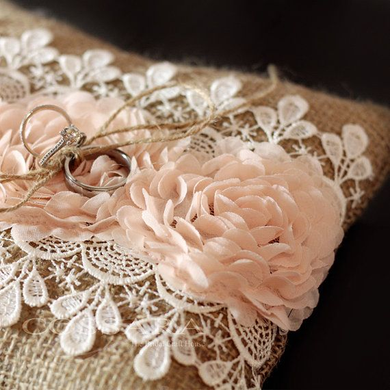 Rustic / Shabby Chic Burlap Ring Pillow with Blush Ciffon Flowers and Lace  Embellishment / Barrier pillow / DIY Weddings / Vintage