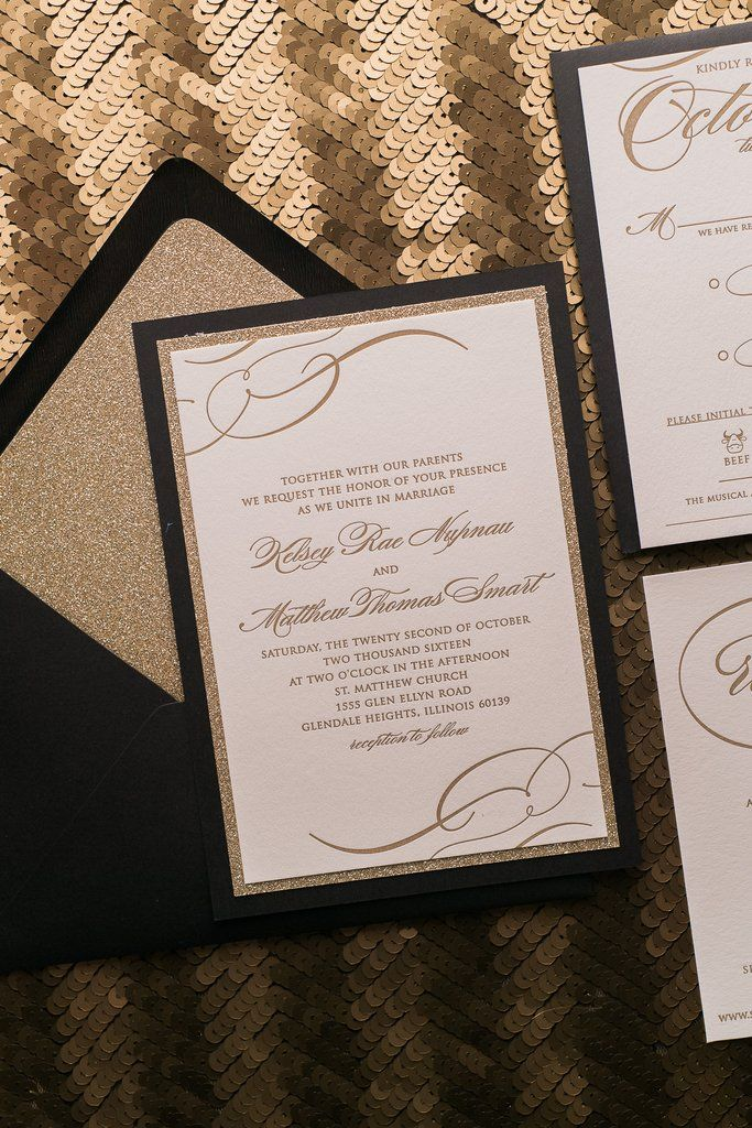 paper style wedding invitations%0A THERESA Suite Fancy Glitter Package  black and gold  modern wedding  invitations  formal