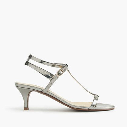 """Designed with a sultry, strappy kitten heel and metallic leather, these sandals match your shining personality. And pretty much everything in your closet. <ul><li>2 1/4"""" heel.</li><li>Leather upper.</li><li>Cushioned insole.</li><li>Made in Italy.</li><li>Online only.</li></ul>"""