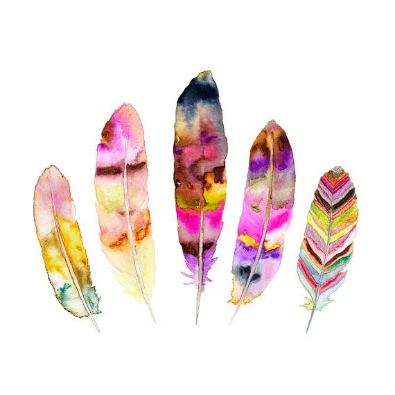 Feather Illustration.  Watercolor Feather Art by SnoogsAndWilde