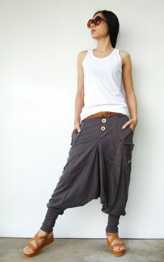 NO.95 Charcoal Cotton Jersey Casual Harem Pants, Unique Pockets Drop-Crotch Trousers, Unisex Pants