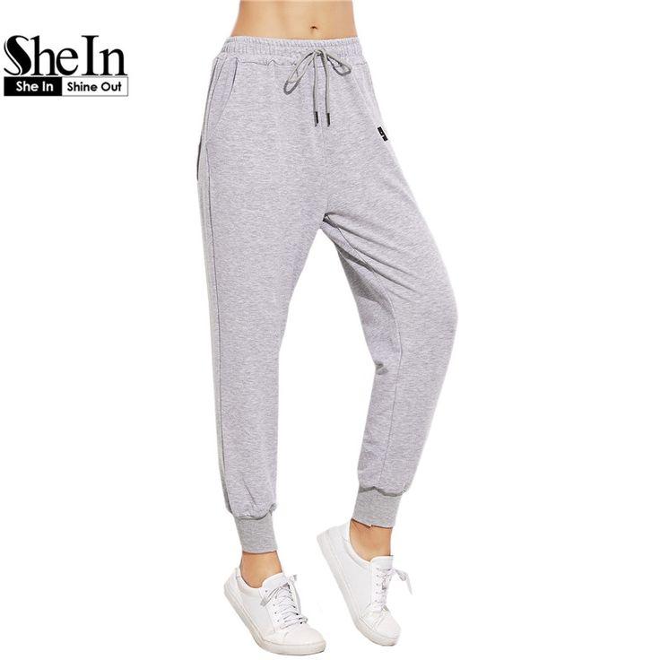 SheIn Loose Pants For Women 2016 Fall Fashion Winter Pants Women Grey Trousers Mid Waist Drawstring Patch Peg Casual Long Pants
