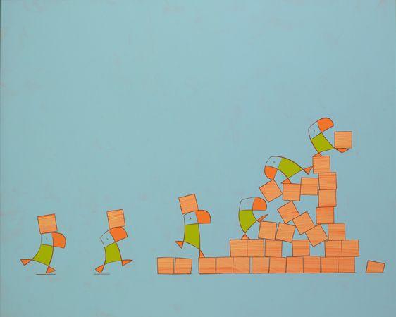 Doos duikertjes / Box puffins -   100 x 122 cm - acrylverf op massoniet / acrylic on masonite - 2008 -  verkocht / sold